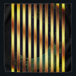 "Bandana gold and black stripes.<br><div class=""desc"">Bandana adorned with gold and black stripes...  and a hint of green.</div>"