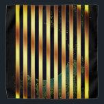 "Bandana gold and black stripes.<br><div class=""desc"">Bandana adorned with gold and black stripes...  and a hint of green.</div>"