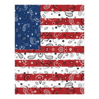 Bandana Pattern American Flag Letterhead