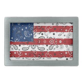 Bandana Pattern American Flag Rectangular Belt Buckle