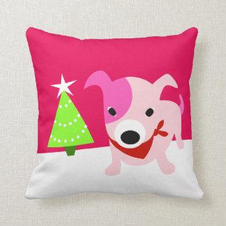 Bandana Puppy & Christmas Tree Throw Pillow