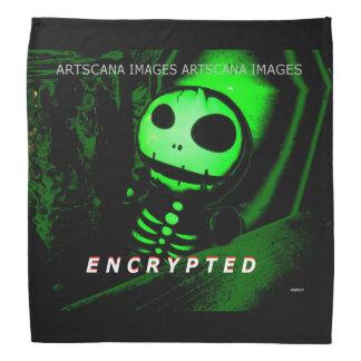 Bandana Skeleton Neon Green Black Encrypted Design