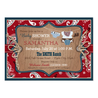 Bandanna Print Cowboy Baby Shower Card