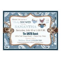 Bandanna Print Cowboy Baby Shower Invitation