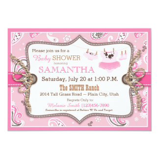 Bandanna Print Cowgirl Baby Shower 5x7 Paper Invitation Card