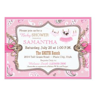 Bandanna Print Cowgirl Baby Shower Card