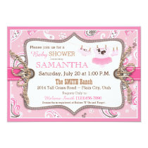 Bandanna Print Cowgirl Baby Shower Invitation