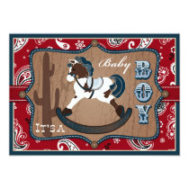 Bandanna Print & Rocking Horse Cowboy Baby Shower Invitation