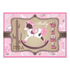 Bandanna Print & Rocking Horse Cowgirl Baby Shower Card