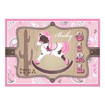Bandanna Print & Rocking Horse Cowgirl Baby Shower Card