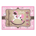 Bandanna Print & Rocking Horse Cowgirl Baby Shower 5x7 Paper Invitation Card