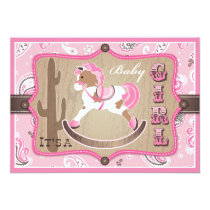Bandanna Print & Rocking Horse Cowgirl Baby Shower Invitation