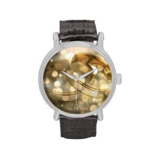 Bandas del anillo de bodas - oro y Bokeh - reloj