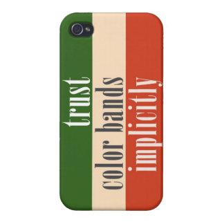 """""""Bandas del color de la confianza implícito """" iPhone 4 Fundas"""