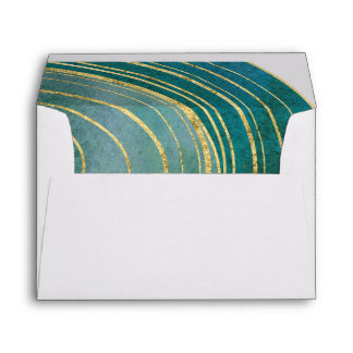 Banded Gemstone | Emerald Wedding Invitation Envelope