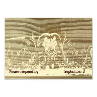 Banded Wood Lace gold tint rsvp with envelopes Card