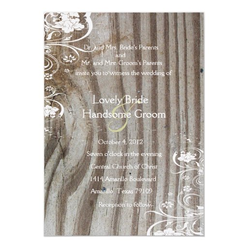Banded Wood Look Shabby Lace Wedding Invitation