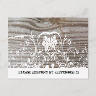 Banded Wood RSVP zazzle_postcard