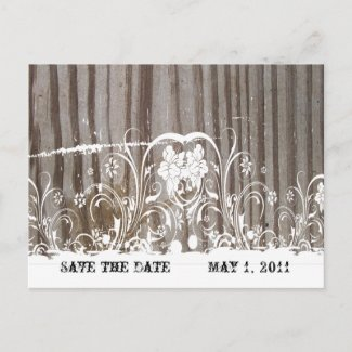 Banded Wood Save the Date zazzle_postcard