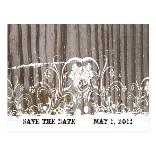 Banded Wood Save the Date Postcard