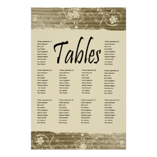 Banded Wood Seating Chart, Gold Sand Tone Print