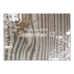 Banded Wood Shabby Chic RSVP with envelopes Invitations