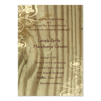Banded Wood Shabby Lace Gold Tint Wedding Invite