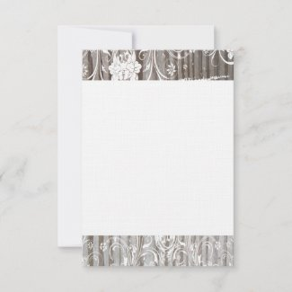Banded Wood Shabby Lace Thank You Flat Cards