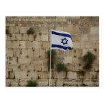 Bandeira de Israel no Muro das Lamentações Tarjeta Postal