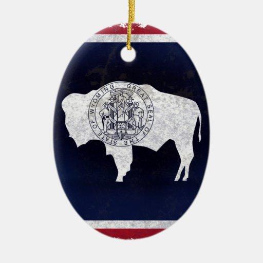 Bandeira do Wyoming Adorno Navideño Ovalado De Cerámica