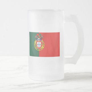 Bandeira Portuguesa Classica por Fás de Portugal Frosted Glass Beer Mug
