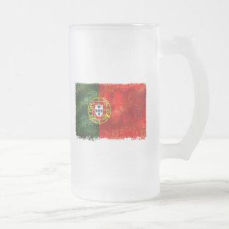 Bandeira Portuguesa - Estilo retro Frosted Glass Beer Mug