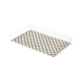 Bandeja de acrílico de la vanidad del punto blanco bandeja rectangular
