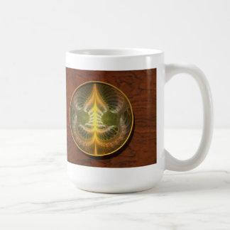 Bandeja de cobre amarillo esmaltada taza de café