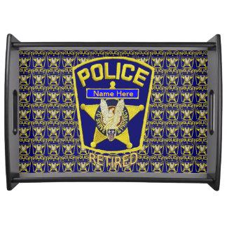 Bandeja de encargo jubilada policía de la porción