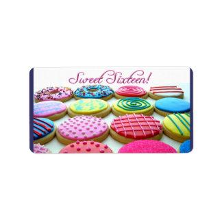 Bandeja de la galleta del dulce 16 etiqueta de dirección