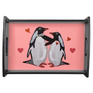 Bandeja de la porción del amor del pingüino