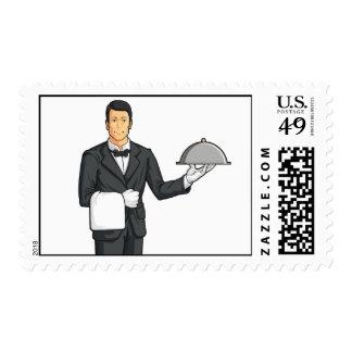 Bandeja de la porción del mayordomo o del camarero sellos
