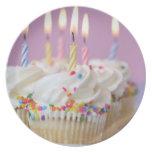 Bandeja de magdalenas del cumpleaños con las velas plato para fiesta