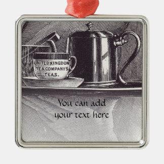 Bandeja de té del vintage adorno navideño cuadrado de metal