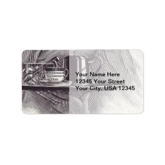 Bandeja de té del vintage etiquetas de dirección