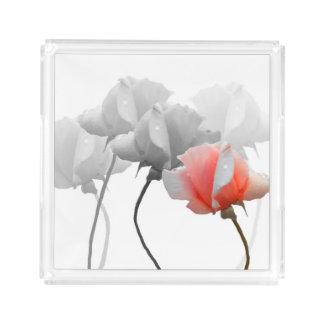 Bandeja del perfume con los rosas bandeja cuadrada