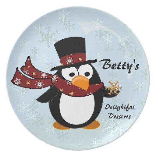 Bandeja del postre del día de fiesta del pingüino plato
