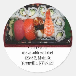 Bandeja del sushi pegatina redonda