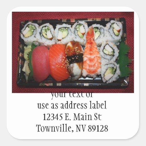 Bandeja del sushi pegatina cuadrada