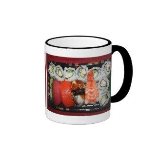 Bandeja del sushi tazas