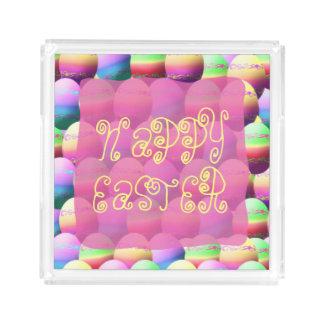 Bandeja feliz colorida del fiesta de los huevos de bandeja cuadrada