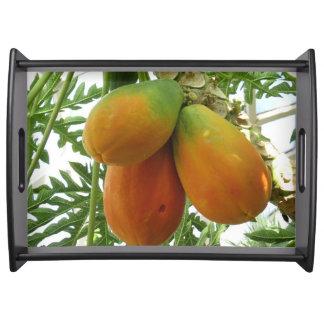 Bandeja grande de la porción de los mangos