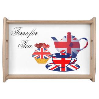Bandeja inglesa de la porción del tiempo del té de