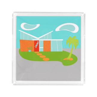 Bandeja moderna del acrílico de la casa del dibujo bandeja cuadrada